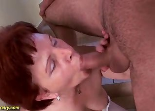 Redhead mommy received a huge facial