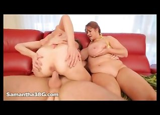 Two lusty BBWs are sharing a massive cock