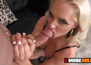 Angelic blonde MILF swallows a massive dick
