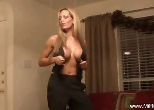 Sweet busty blonde stimulates her pussy