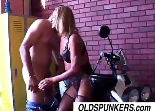 Golden blonde nailed by a curved boner