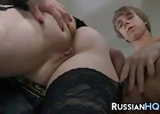 Beauty in stockings fucked from behind